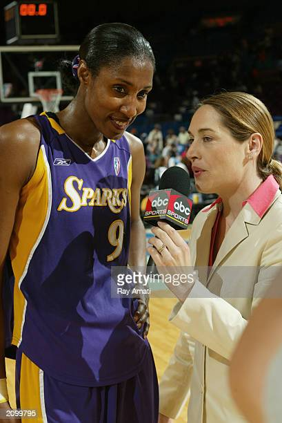 Lisa Leslie of the Los Angeles Lakers speaks with the media after the WNBA game against the New York Liberty at Madison Square Garden on June 14 2003...