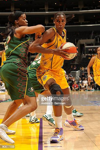 Lisa Leslie of the Los Angeles Sparks against of the Seattle Storm in Game One of the WNBA Western Conference SemiFinals on September 16 2009 at...