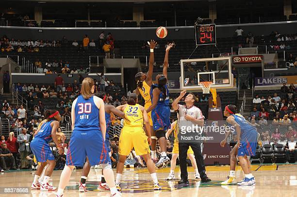 Lisa Leslie of the Los Angeles Sparks and Taj McWilliams of the Detroit Shock go after a jump ball during the game on June 6 2009 at Staples Center...