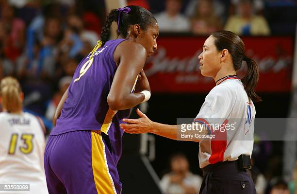 Lisa Leslie of the Los Angeles Sparks argues with an official during the WNBA game against the Phoenix Mercury on July 26 2005 at America West Arena...