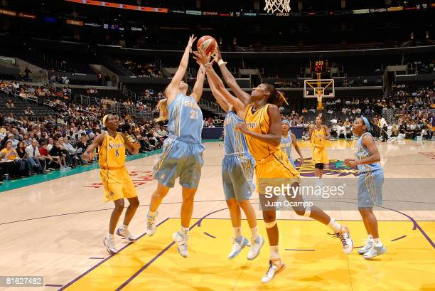 Lisa Leslie of the Los Angeles Sparks battles for the ball during the game against Brooke Wycokoff of the Chicago Sky on June 18 2008 at Staples...