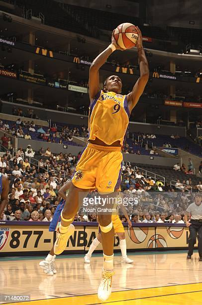 Lisa Leslie of the Los Angeles Sparks goes to the hoop against the New York Liberty on July 18 2006 at the Staples Center in Los Angeles California...