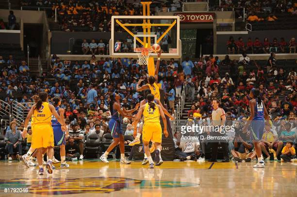 Lisa Leslie of the Los Angeles Sparks goes up for a shot against the New York Liberty on July 1 2008 at Staples Center in Los Angeles California NOTE...