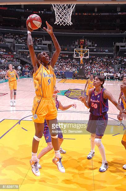 Lisa Leslie of the Los Angeles Sparks goes up for two points during the game against the Phoenix Mercury on July 6 2008 at Staples Center in Los...