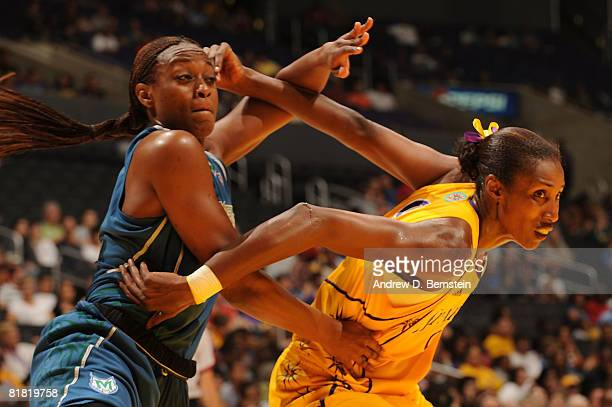 Lisa Leslie of the Los Angeles Sparks guards Nicky Anosike of the Minnesota Lynx during the game on July 3 2008 at Staples Center in Los Angeles...