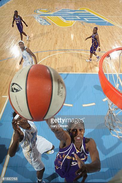 Lisa Leslie of the Los Angeles Sparks lays up a shot against the Chicago Sky during the game on June 3 2008 at the UIC Pavilion in Chicago Illinois...