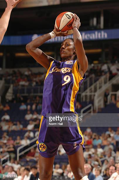 Lisa Leslie of the Los Angeles Sparks looks to shoot during a game against the Phoenix Mercury at US Airways Center on July 14 2006 in Phoenix...
