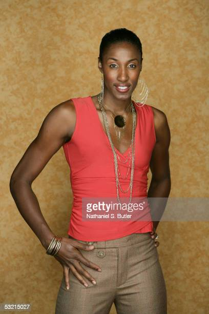 Lisa Leslie of the Los Angeles Sparks poses for a fashion portrait during the 2005 WNBA AllStar Weekend on July 8 2005 at Mohegan Sun Arena in...