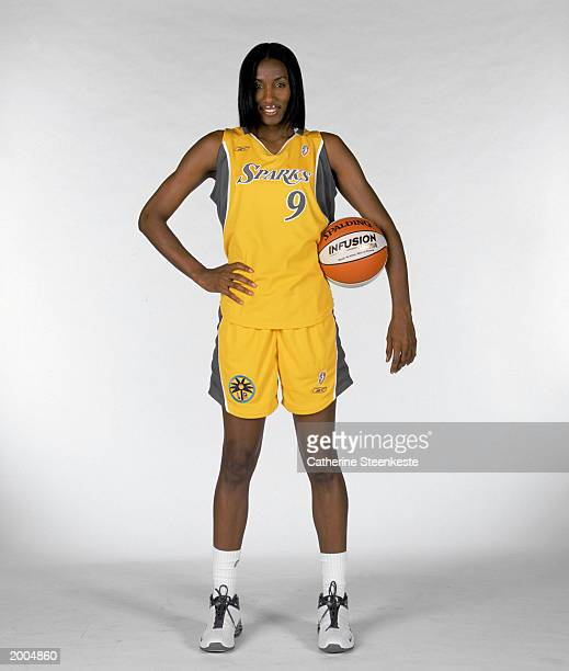 Lisa Leslie of the Los Angeles Sparks poses for a portrait during WNBA Media Day on May 2 2003 in Los Angeles California NOTE TO USER User expressly...
