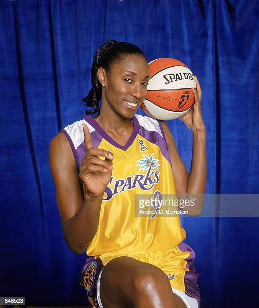 Lisa Leslie of the Los Angeles Sparks poses for a studio portrait in Los Angeles California on February 10 2002 NOTE TO USER User expressly...
