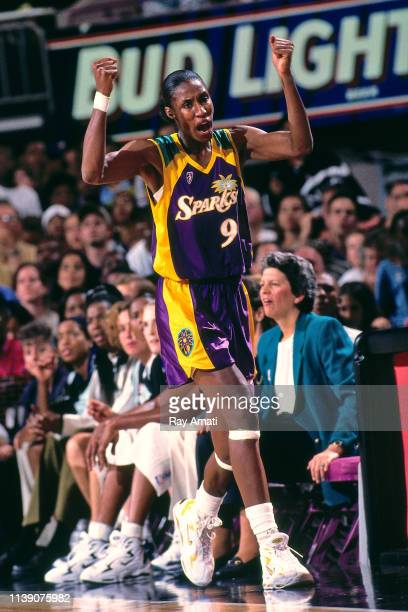 Lisa Leslie of the Los Angeles Sparks reacts to a play during the game against the New York Liberty on August 5 1997 at Madison Square Garden in New...