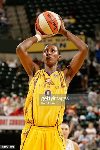 Lisa Leslie of the Los Angeles Sparks shoots a free throw against the Indiana Fever during the WNBA game on June 12 2009 at Conseco Fieldhouse in...
