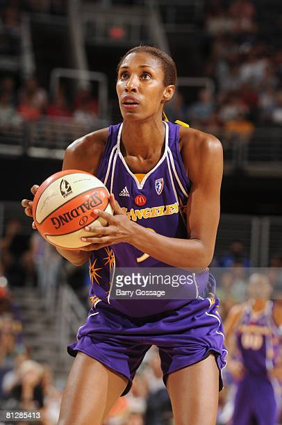 Lisa Leslie of the Los Angeles Sparks shoots a free throw during the game against the Phoenix Mercury at US Airways Center on May 17 2008 in Phoenix...