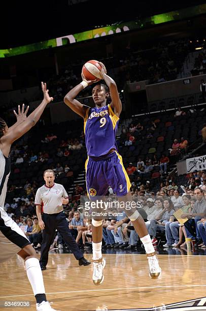 Lisa Leslie of the Los Angeles Sparks shoots against the San Antonio Silver Stars during the WNBA game at the SBC Center on August 26 2005 in San...