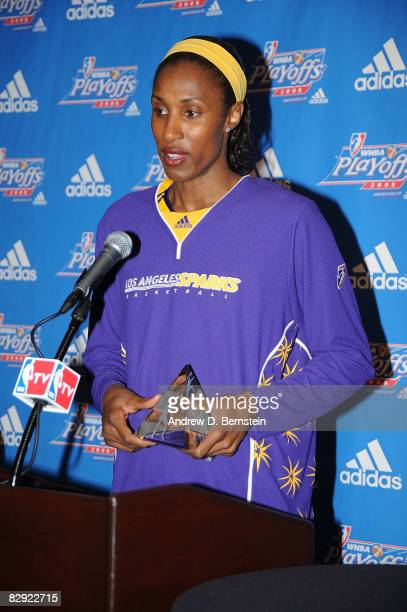 Lisa Leslie of the Los Angeles Sparks speaks at a press conference announcing her Defensive Player of the Year Award on September 19 2008 at Staples...
