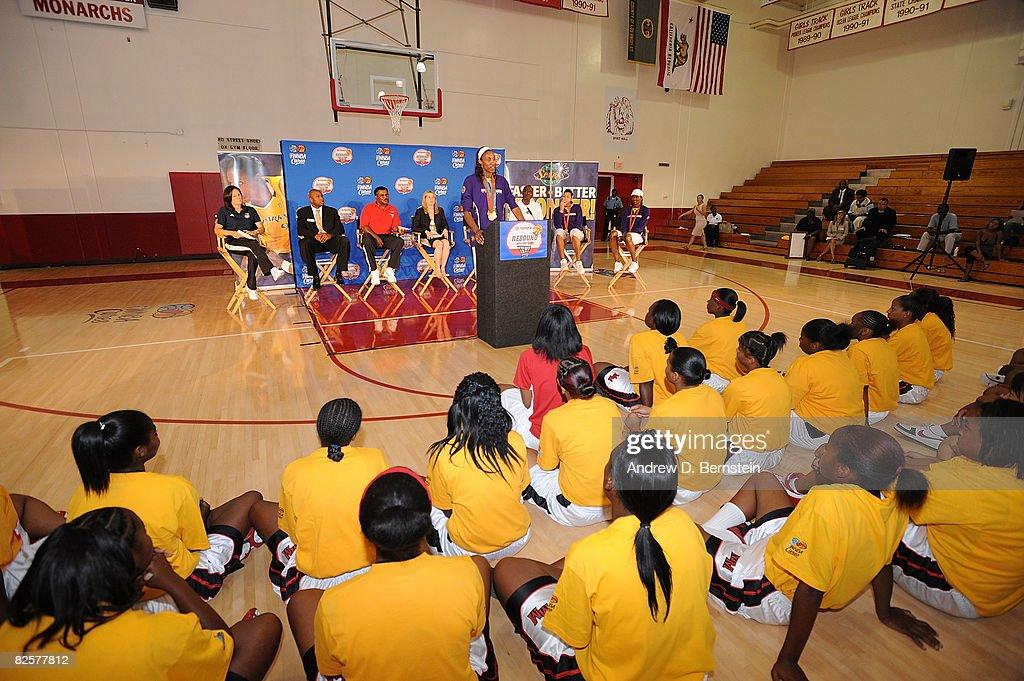 WNBA Unveil Refurbished Basketball Court : News Photo
