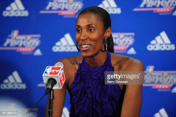 Lisa Leslie of the Los Angeles Sparks speaks to the media following the loss against the Phoenix Mercury in Game Three of the WNBA Western Conference...