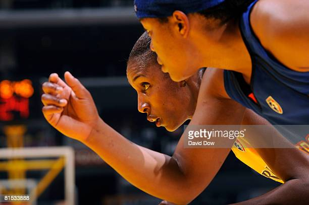 Lisa Leslie of the Los Angeles Sparks stands outside the lane during a free throw in the game against the Detroit Shock at Staples Center on June 11...