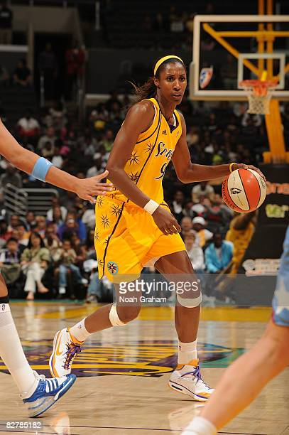Lisa Leslie of the Los Angeles Sparks takes the ball down court against the Atlanta Dream on September 11, 2008 at Staples Center in Los Angeles,...