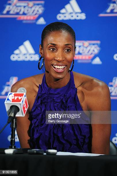 Lisa Leslie of the Los Angeles Sparks talks to the media after Game Three of the Western Conference Finals against the Phoenix Mercury during the...