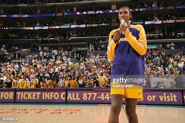 Lisa Leslie of the Los Angeles Sparks thanks fans after the game against the Minnesota Lynx on September 11 2009 at Staples Center in Los Angeles...