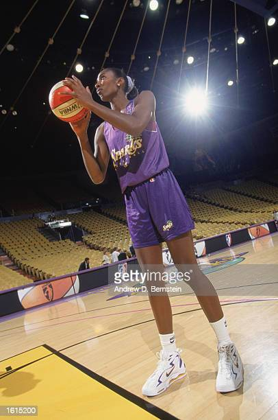 Lisa Leslie of the Los Angeles Sparks warms up before the inaugural WNBA game against the New York Liberty at the Great Western Forum on June 21 1997...