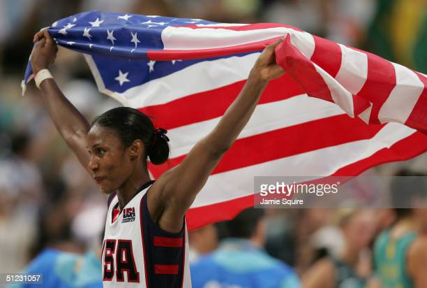 Lisa Leslie of the United States team celebrates winning the gold in the women's basketball gold medal match 74 -63 over Australia on August 28, 2004...