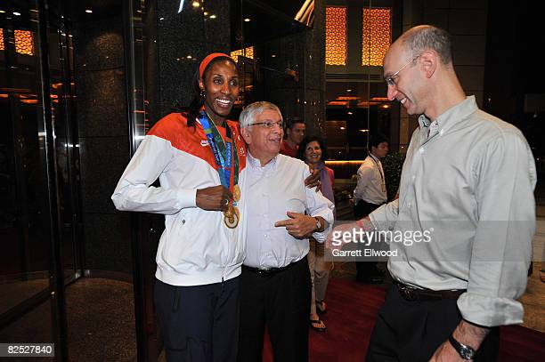 Lisa Leslie of the U.S. Women's Senior National Team celebrates with NBA Commissioner David Stern and Deputy Commissioner Adam Silver after winning...