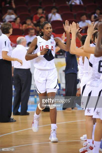 Lisa Leslie of the U.S. Women's Senior National Team is introduced against the Czech Republic during day one of basketball at the 2008 Beijing Summer...