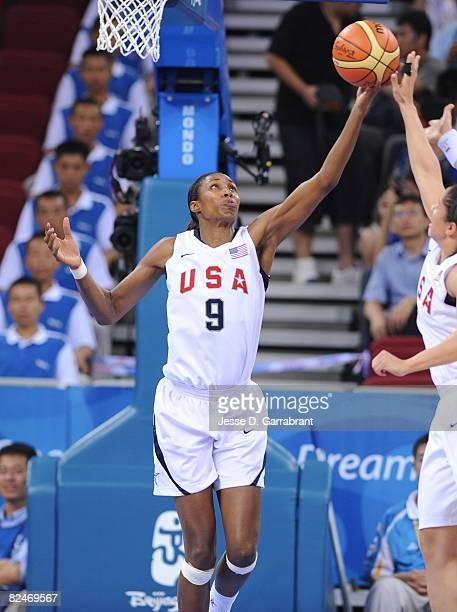 Lisa Leslie of the U.S. Women's Senior National Team rebounds against Korea during their quaterfinal women's basketball game on Day 11 of the Beijing...
