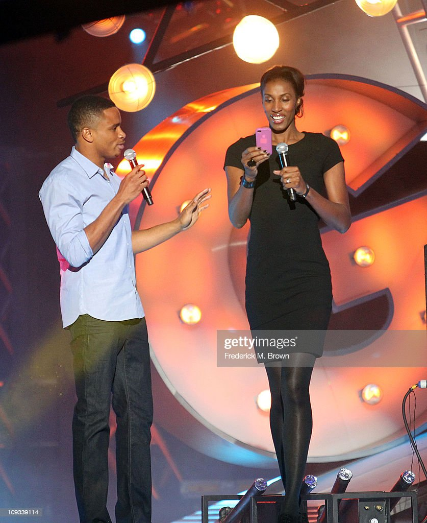 Lisa Leslie (R) speaks during the First Annual Cartoon Network's 'Hall of Game' award show at the Barker Hanger on February 21, 2011 in Santa Monica, California.