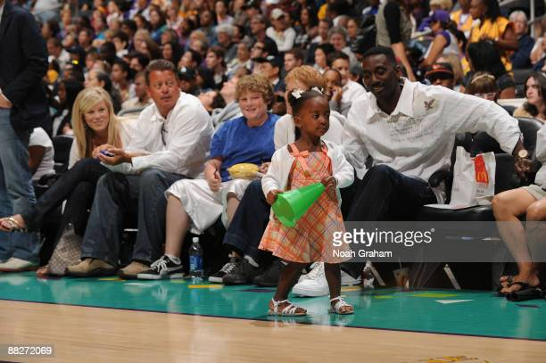 Lisa Leslie's daughter Lauren and Husband Michael Lockwood take in a game against the Detroit Shock on June 6 2009 at Staples Center in Los Angeles...