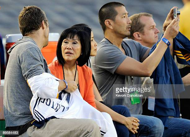 Lisa Ling , the sister of imprisoned journalist Laura Ling, mother Mary Ling and Lain Clayton, Laura Ling's husband look on prior to the start of the...