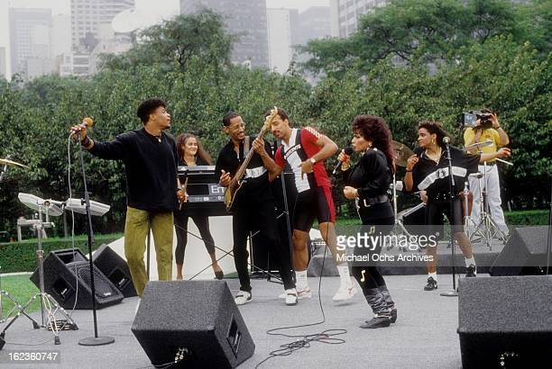 Lisa Lisa and Cult Jam perform in a park in circa 1987 in New York City New York