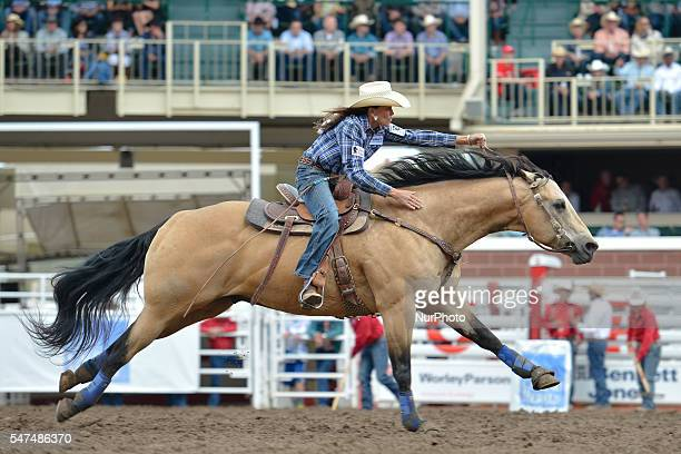 Lisa Lockhart from Oelrichs SD in action during Ladies Barrel Racing competition at the Calgary Stampede 2016 Twenty of the world's top competitors...