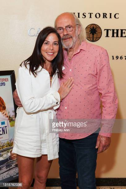 """Lisa Loiacono and Christopher Lloyd attend """"Senior Moment"""" Screening And Q&A at Camelot Theatres on May 01, 2021 in Palm Springs, California."""