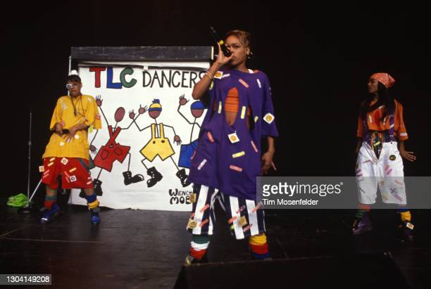 Lisa Lopes, Rozonda Thomas, and Tionne Watkins of TLC perform during KMEL Summer Jam at Shoreline Amphitheatre on August 2, 1992 in Mountain View,...