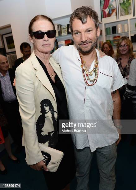 Lisa Love and designer Johnson Hartig attends the Director's Circle Celebration of WEAR LACMA Inaugural Designs by Johnson Hartig For Libertine And...