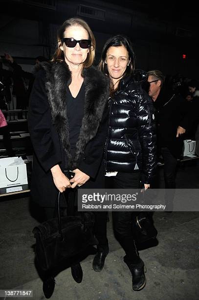 Lisa Love and Sally Singer attend the Alexander Wang Fall 2012 fashion show during MercedesBenz Fashion Week at Pier 94 on February 11 2012 in New...
