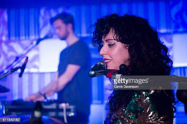 Lisa Mageean of Pleasure Beach performs onstage at Bar Sub on February 19 2016 in Belfast Northern Ireland