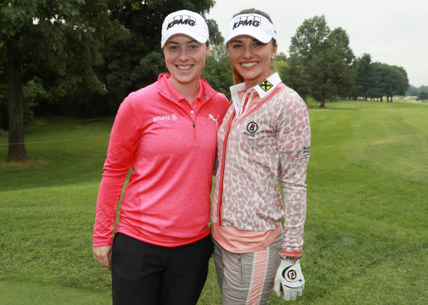Lisa Maguire of Ireland and Klara Spilkova of the Czech Republic pose together during the proam prior to the start of the KPMG Women's PGA...