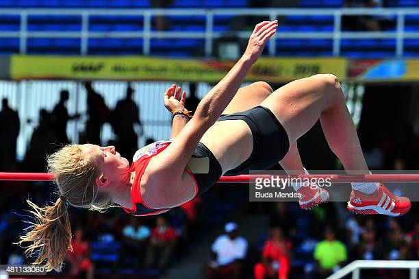 Lisa Maihofer of Germany in action during the High Jump Heptathlon Girls on day three of the IAAF World Youth Championships Cali 2015 on July 17 2015...
