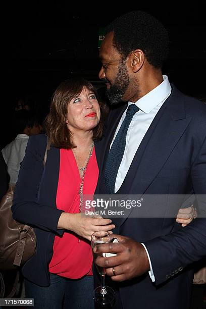 Lisa Makin and Lenny Henry after his parformance on the press night of 'Fences' at the Duchess Theatre on June 26 2013 in London England