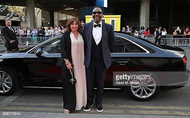 Lisa Makin and Lenny Henry arriving in a Audi at the top of the red carpet for the BAFTA TV Awards 2016 at the Royal Festival Hall on May 8 2016 in...