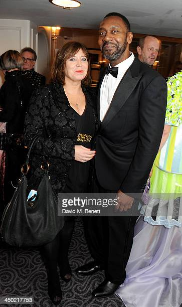 Lisa Makin and Lenny Henry attend a drinks reception at the 59th London Evening Standard Theatre Awards at The Savoy Hotel on November 17 2013 in...