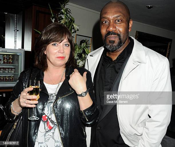 Lisa Makin and Lenny Henry celebrate backstage after the We Will Rock You 10 Year Anniversary performance at The Dominion Theatre on May 14 2012 in...