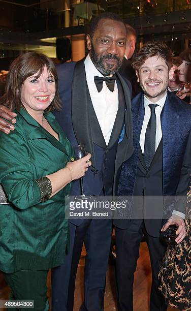 Lisa Makin Lenny Henry and Iwan Rheon attend The Olivier Awards after party at The Royal Opera House on April 12 2015 in London England
