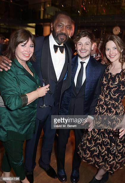 Lisa Makin Lenny Henry Iwan Rheon and Zoe Grisedale attend The Olivier Awards after party at The Royal Opera House on April 12 2015 in London England