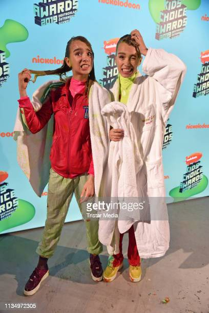 Lisa Mantler and Lena Mantler are seen backstage at the Nickelodeon Kids Choice Awards on April 4 2019 in Rust Germany