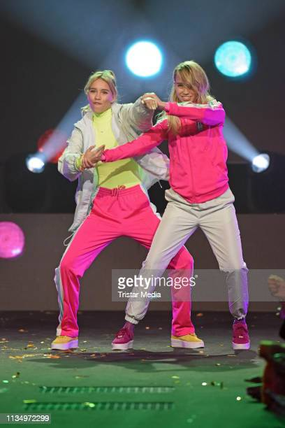 Lisa Mantler and Lena Mantler are seen on stage at the Nickelodeon Kids Choice Awards on April 4 2019 in Rust Germany